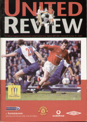 original Official programme for the Premier League match Manchester United V Sunderland played on 2 February 2002 at Old Trafford.