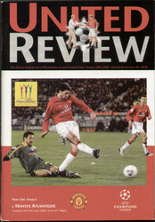 original Official programme for the Champions League match Manchester United V Nantes played on 26 February 2002 at Old Trafford.