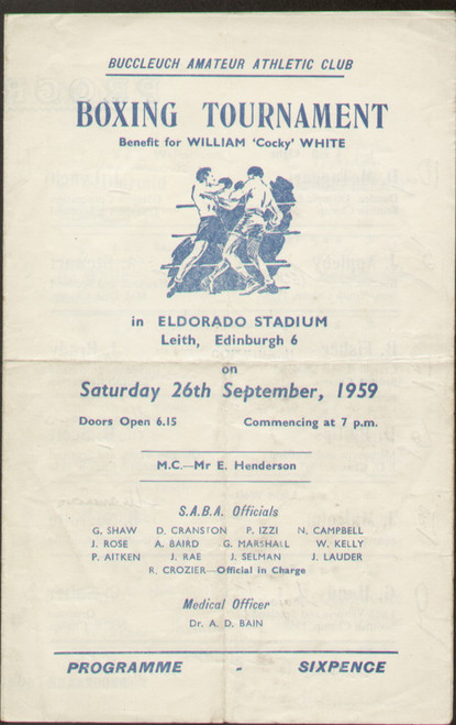 original Official boxing programme for the William 'Cocky' White benefit held in Leith 26 September 1959.