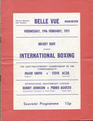 original international boxing programme for bouts held in Belle Vue Manchester on 19 February 1975.