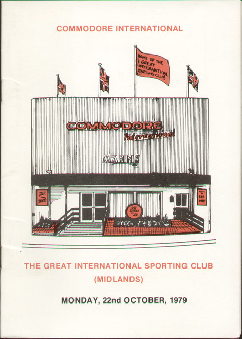 original boxing programme/menu for bouts held at The Great International Sporting Club (Midlands) 22 October 1979. The menu has been signed by Dave boy Green and 2 unknown signatures.