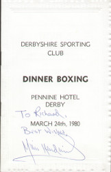 original boxing programme/menu held at Derbyshire Sporting Club on 24 March 1980. The menu has been signed by England cricketer Mike Hendrick.