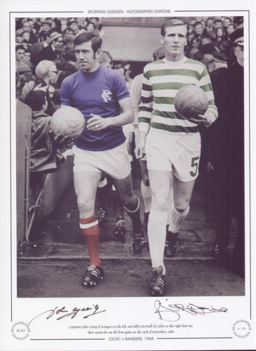 Celtic V Rangers 1968. Captains John Greig of Rangers and Billy McNeill of Celtic lead out their teams for an old firm game on the 14th September 1968.