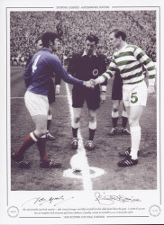 The 1969 Scottish Cup Final Captains - John Greig of Rangers and Billy McNeill of Celtic shake hands before the game. A crowd of 132,000 fans at Hampden Park witnessed goals from Chalmers, Connolly, Lennox & McNeill in a 4-0 victory for Celtic.