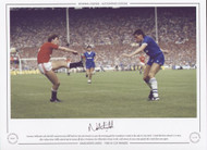 Norman Whiteside curls the ball around Everton full-back Pat Van Den Hauwe to score the winning goal for Manchester United in the 1985 FA Cup Final. United had been reduced to 10 men, after referee Peter Willis ordered Kevin Moran off after 78 minutes.