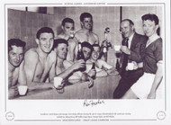 Manchester United players and manager Matt Busby celebrate winning the 1956/57 League Championship for the second year running. Included are Johnny Berry, Bill Foulkes, Roger Byrne, Tommy Taylor and Bill Whelan.