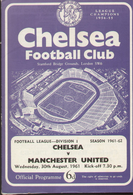 original Official programme for the League Division 1 match Chelsea V Manchester United played on 30 August 1961 at Stamford Bridge.