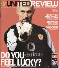 original Official programme for the FA Cup 5th round match Manchester United V Arsenal played on 15 February 2003 at Old Trafford.