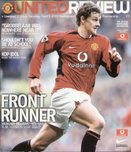 original Official programme for the Premier League match Manchester United V Liverpool played on 5 April 2003 at Old Trafford.