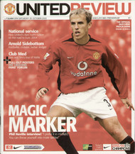original Official programme for the Premier League match Manchester United V Fulham played on 25 October 2003 at Old Trafford.