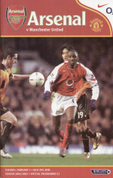 original Official programme for the Premier League match Arsenal V Manchester United played on 1 February 2005 at Highbury.