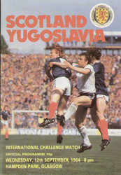 original Official programme for the international match Scotland V Yugoslavia played on 12 September 1984 at Hampden Park.