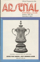 original Official 1982 FA Cup Semi Final programme. The game, Queens Park Rangers V West Bromwich Albion was played on 3 April 1982 at Highbury.