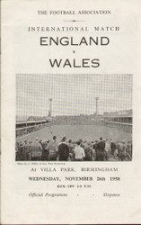 original Official programme for the International match England V Wales, the game was played on 26 November 1958 at Villa Park.