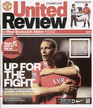 original Official programme for the Premier League match Manchester United V West Bromwich Albion played on 11 March 2012 at Old Trafford.