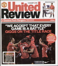 original Official programme for the Premier League match Manchester United V Queens Park Rangers played on 8 April 2012 at Old Trafford.