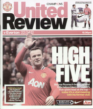 original Official programme for the Premier League match Manchester United V Everton played on 22 April 2012 at Old Trafford.