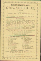 original Pontardulais Cricket Club members card and fixture list for 1890.