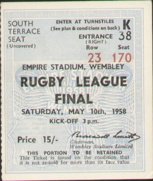 Official Rugby League Challenge Cup Final match ticket stubb from the game Wigan V Workington played at Wembley on 10 May 1958. Wigan secured the cup with a 13-9 victory.