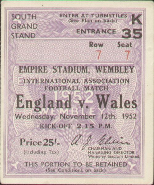 original Official match ticket stubb from the game England V Wales played at Wembley on 12 November 1952.