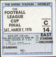 original Official 1970 League Cup Final match ticket stubb from the game Manchester City V West Bromwich Albion played at Wembley on 7 March 1970.