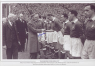 Johnny Carey introduces King George VI to his Manchester United team prior to the 1948 FA Cup Final. Goals from Jack Rowley (2), Stan Pearson & Johnny Anderson