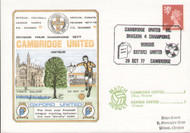 original first day cover to celebrate Cambridge United as Division IV Champions. Issued October 1977. Complete with filler card.