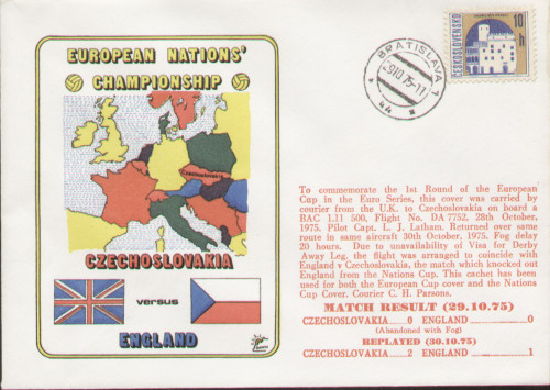 original flown first day cover to celebrate Czechoslovakia V England 1975, issued in October 1975.