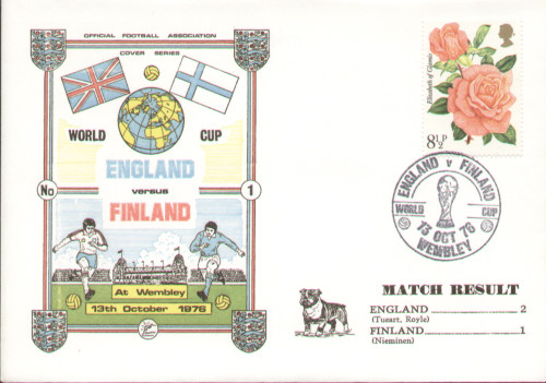 original first day cover to celebrate the International match England V Finland. Issued October 1976. Complete with filler card.