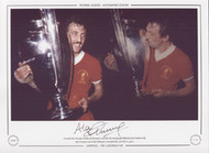 A proud Alan Kennedy clutches the European Cup after his winning goal defeated Real Madrid in the 1981 European Cup Final, victory gave Liverpool their 3rd European title in 5 years.