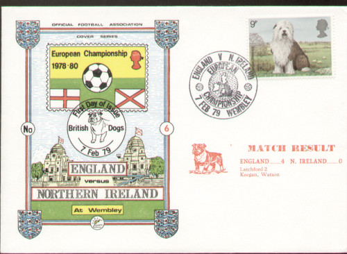 original first day cover to celebrate the International Match England V Northern Ireland. Issued February 1979. Complete with filler card.