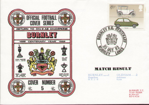 original first day cover to celebrate Burnley's Centenary year 1982, issued in October 1982. Complete with filler card.