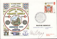original first day cover to celebrate The FA Charity Shield 1987, Everton V Coventry, issued in August 1987. The cover has been signed by Everton legend Colin Harvey.