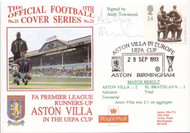 original first day cover to celebrate Aston Villa in the UEFA Cup. Issued September 1994. Complete with filler card.The cover has been signed by Andy Towsend and is part of a limited edition of 293 that were signed.
