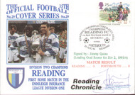 original first day cover to celebrate Reading's 1st home match in Division 1. Issued August 1994. Complete with filler card. The cover has been signed by Jimmy Quinn and is limited edition no 228 of 249 that were signed.