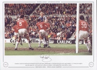 Manchester United centre-back David May heads his team's first goal against Middlesbrough in a crunch game during the 1995/96 League campaign. A 3-0 victory was enough to secure the League title. An FA Cup was soon to follow and Manchester United completed their second double in 3 seasons.