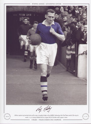 Roy Bentley leads out Chelsea V Sheffield Wednesday 1955. Signed Limited Edition
