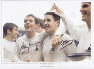 "Superb picture showing Alan Mullery & Dave Mackay celebrating Tottenham's 1967 FA Cup Final victory over Chelsea. The montage is 16""x12"" (405mm x 305mm) and was signed by Alan Mullery & Dave Mackay at a private signing session held at Collectamainia, Earls Court, London on 27/28 November 2009."