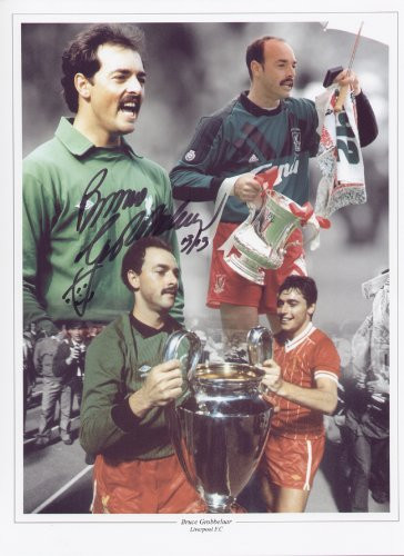 """In 1981 Grobbelaar was propelled to the big time when he was signed by Liverpool manager Bob Paisley for £250,000. With Liverpool, Bruce Grobbelaar won six League titles, a European Cup, three FA Cups and three League Cups, before leaving the club in 1994. The montage is 16""""x12"""" (405mm x 305mm) and was signed by Bruce Grobelaar at a private signing session held at Collectamainia, Earls Court, London on 27/28 November 2009."""