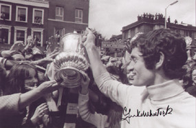 Frank McLintock shows off the FA Cup to Arsenal fans in 1971. Superb piece of signed Arsenal memorabilia and great value.