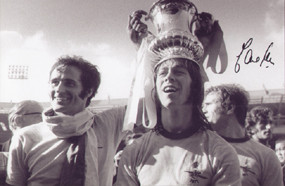 Charlie George celebrates with George Graham & Eddie Kelly after Arsenal's 1971 FA Cup Final triumph over Liverpool in 1971.