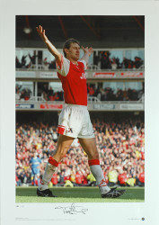 Arsenal legend Tony Adams celebrates scoring the fourth goal in Arsenals title-clinching game against Everton at Highbury in 1998.