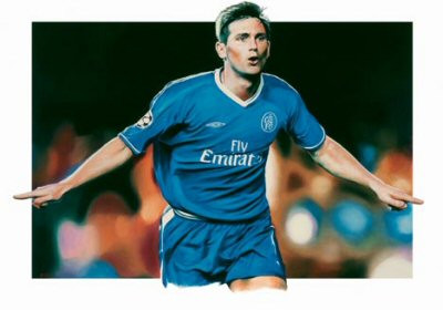 Superb limited edition of Frank Lampard celebrating by renowned artist Rob Highton. The picture has been signed by Frank Lampard & the artist Rob Highton.