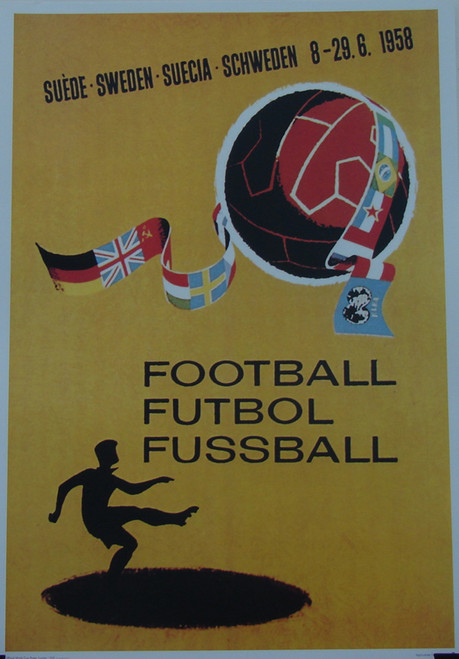 Superb iconic print of the Official World Cup poster for the 1958 World Cup Finals held in Sweden. (Image - Empics). The posters have been signed by Terry Medwin (Wales & spurs). The poster is professionally reproduced on high quality 250gsm art paper. Ideal gift or addition to any collection.