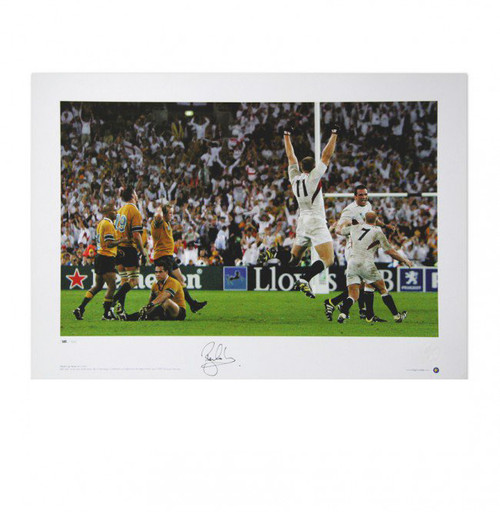 Rugby world Cup Final 2003. As the final whistle blows, Ben Cohen leaps in celebration as England win the Rugby World Cup in 2003.