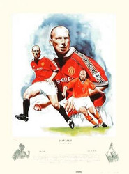 Jaap Stam by Gary Brandham.  Since his arrival from Holland in 1998 Jaap Stam has arguably been Manchester Uniteds most consistent performer. After being voted Dutch Player of the Year at the end of the 1997-98 season a great deal of expectation arose from the Old Trafford faithful as they waited to see if the Dutchman would justify his £10.75 million transfer fee. However, Stam has far exceeded any expectations the supporters may have had. His incredible pace, control and ability to read the game have provided Manchester United with the necessary strength in defence to enable them to play the type of free-flowing attacking football which has become synonymous with the Treble winning side. It is a certainty that with his best still to come Jaap Stam will be a name which is long remembered on the terraces of Old Trafford.