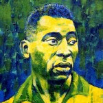 On offer is a limited edition print by renowned artist Brian West. The great Pele - a knife portrait in blue, green and yellow.