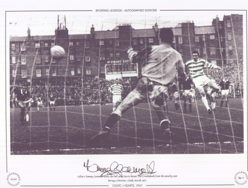 Celtic's Tommy Gemmell blasts the ball past Hearts keeper Jim Cruickshank from the penalty spot during a Division 1 clash, March 1967