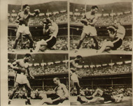 On offer is an original radio/wire photograph showing Sugar Ray Robinson knocking out Carl Bodo Olson in the fourth round of their World Middleweight title fight in Los Angeles 18 May 1956.