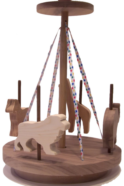 "For little girls and boys, our merry go round includes a horse, elephant, giraffe and lion. The colorful ribbon and ingenious design cause it to ""go round"" with a toddler's help. Crafted out of oak, cherry, birch and walnut. The merry go round is 10"" wide x 14"" high"